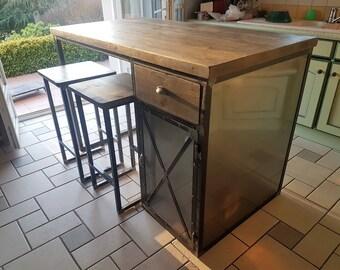 Central industrial kitchen island door steel drawer solid wood