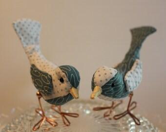 Bird Cake Topper Teal Wedding Cake Topper Birds: Fabric Bird Cake Topper in modern teal print and polka dot fabrics for weddings love birds