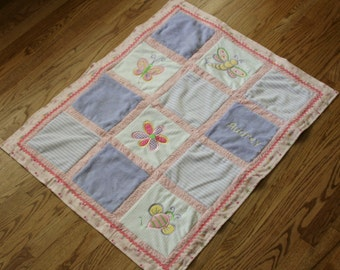 "Appliqued Minky Baby Blanket "" Oodles of Bugs"""
