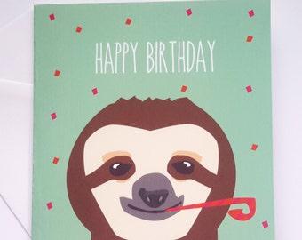 Sloth Birthday Card - Happy Birthday Sloth Card