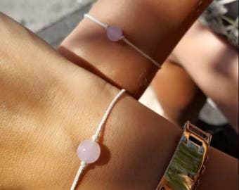 Rose quartz wish bracelet, Friendship bracelet, BFF bracelet, Pink quartz bracelet, Minimalist jewelry