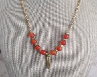 SImple  Glass  APRICOT PENDANT Necklace  with CHAIN