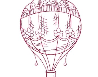 Hot Air Balloon Redwork - Machine Embroidery Design