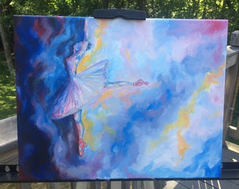 painting-blue-blue and yellow-ballerina