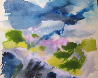 Cliff, Watercolor painting on Arches Paper circa 1980 by Karen Pratt Abstract Impressionism