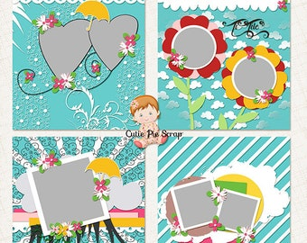 Digital Scrapbooking Layout Templates ''April Shower '', Digital Scrapbook Template- Photoshop Collage Template for Photographers -