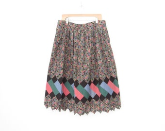 vintage quilted skirt * floral skirt * folk skirt * 70s squaw skirt * xl - xxl - plus size