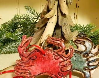 Clay Crab Christmas Ornament, Maryland Bluecrab, Virginia Bluecrab