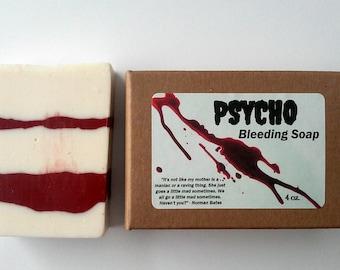 Handmade Soap, PSYCHO, Halloween Bleeding Soap, Unique Gift, Hostess Gift, Adult Party Favors, Trick or Treats, Spooky Bathroom Decoration