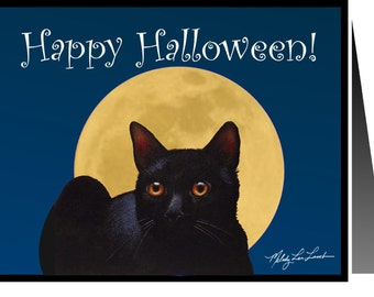 Halloween Black Cat Greeting Card