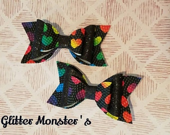 Rainbow Heart Hair Bow, Rainbow Hair Bow, Rainbow Heart Headband, Heart Bow, Leather Bows, Rainbow Leather Bow,Toddler Bows,Girls Hair Clips