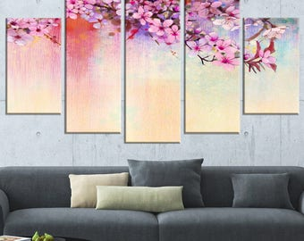Watercolor Painting Cherry Blossoms  Canvas Art Print and Metal Wall Art Available in Different Sizes (PT14088)