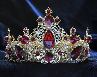 Red Queen Crown, Custom Crown, Red Tudor Crown, Womens Crown, Baroque Red Crown, Victorian Female Crown, Dolce Red Crown