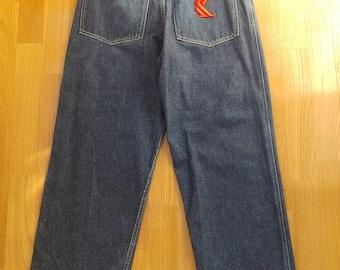 KARL KANI jeans, vintage baggy Kani jeans loose blue 90s hip-hop clothing, oldschool 1990s hip hop, OG, gangsta rap, size W 26