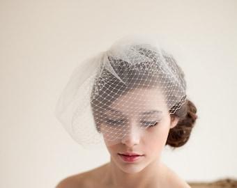Double Layer Birdcage Veil, Blusher Veil, Tulle Veil, Wedding Veil, Mini Veil - Jane Style 7413