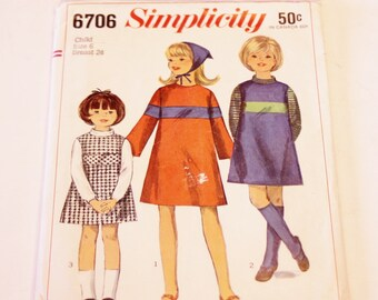 Simplicity 6706: Child's and Girls' One-Piece Dress or Jumper and Scarf Size 6 CUT (1966)
