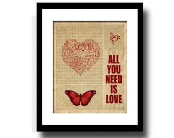 All You Need Is Love, Song Art Print, Music Gallery, Wall Art, Collage, Home Decor, Red & Tan