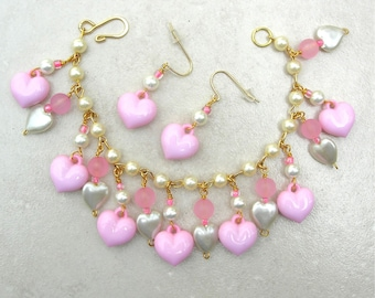 SALE - 50% off, Sweet Heart Charm Bracelet, Pink Glass & Faux Pearls, Valentine/Birthday Gift, Bracelet and Earring Set by SandraDesigns
