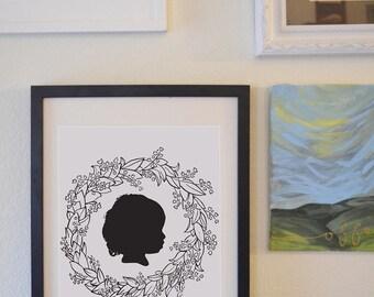 CUSTOM Silhouette Wreath Portrait