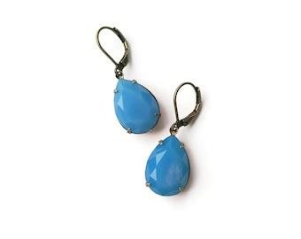 Opal Blue Earrings - Sky Blue Earrings - Drops - Vintage Jewelry - Soft Blue Drops Earrings (SD1126)