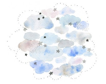 Cloud watercolor painting, Watercolor cloud and star print, Cloud poster, Cloud illustration, Cloud art, Children room decor, Kid wall art