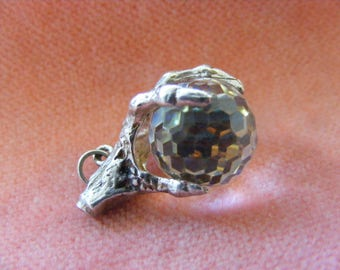 B) Vintage Sterling Silver Charm Crystal orb in a dragons claw