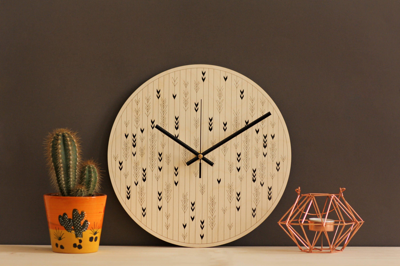 Wood wall art Modern wall clock Laser cut wood Wooden wall