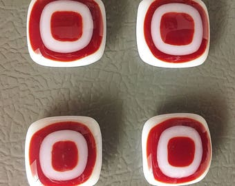 Red Target Glass Magnets