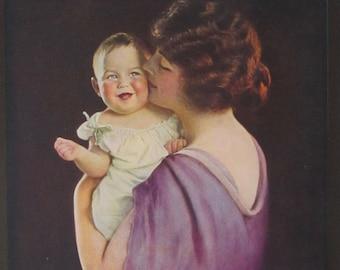 Mother &  Child - Original 1930's Calendar Art Print- Mother Love - 6 1/2 x 8 3/4