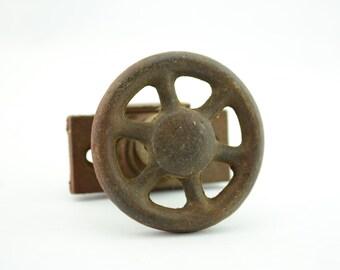Vintage Industrial Cast Iron Knob Track Clamp, Steampunk