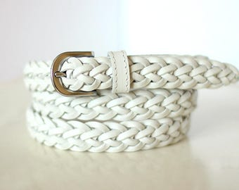 Free shipping! White belt, white leather belt, white braided belt, white wicker belt, white woman belt, white waist belt, braided belt