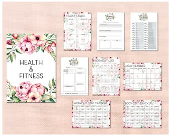 Printable Health & Fitness Planning Kit - Digital Download Workout and Meal trackers in A4, A5 and letter sizes.