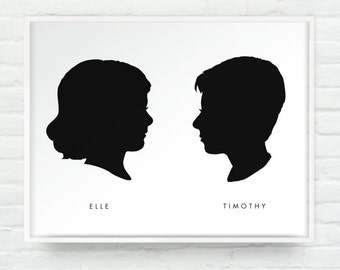 Two Custom Silhouettes Portraits Print on White - Personalized Girl or Boy Children Name Art 11x14 Mothers Day Fathers Day