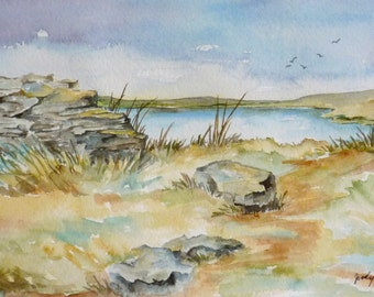prairie grasslands landscape original watercolor painting small format
