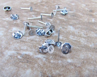 Nickel Free 100 pcs 4mm TITANIUM Earring Posts with Flat Pad  and Backs