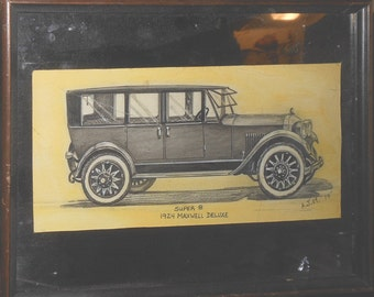 Super 8 1924 Maxwell Deluxe vintage drawing signed