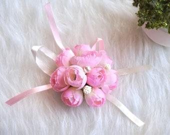 Bridesmaids Wrist Corsage, Blush/Pearl Corsage, Wrist Corsage, Wedding Corsage, Prom Corsage