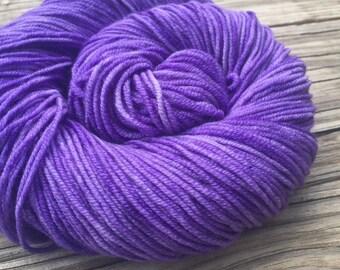Avast ye Wildcats Purple Hand Dyed Worsted Weight Yarn Hand Painted yarn 218 yards Superwash Merino Wool treasure goddess swm lilac violet