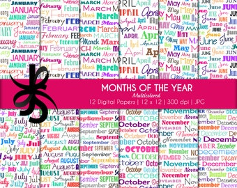 Digital Scrapbook Papers-Months of the Year-Multicolored-Typography Poster-Seasonal Clipart-Wallpaper-Backgrounds-Instant Download Clip Art