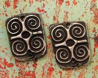 Adinkra Ram's Horn dwennimmen - Hand Cast Rustic Pewter Jewelry Components