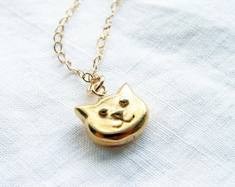 Cat Necklace. Teeny Tiny Smiley Gold Cat. Alice in Wonderland Simple Modern Jewelry by PetitBlue