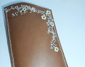Leather Case For Cell Phone With Pressed Flowers, Leather Case For Eyeglasses,Unique Leather Case, Handmade Leather Case For Eyeglasses