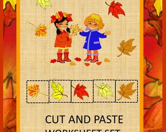Teaching Materials, Instant Printable, Back to School, Home School, Falling Autumn Leaves Cut and Paste PK,K,Special Education, Autism