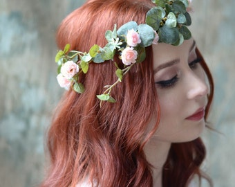 Boho flower crown, eucalyptus crown, blush pink floral crown, wedding headpiece, circlet, bridal hair wreath, rose crown, hair accessories