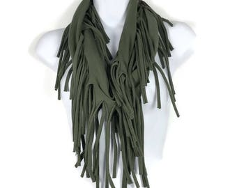 Army Green Fringe Scarves Olive Green Fringe Infinity Scarf Fringed Infinity Scarves Military Green Infinity Scarves Green Cotton Scarf