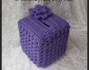 Lavender Boutique Tissue Box Cover, Decorative, Crochet Kleenex Tissue Box cover, Gifts for Her, Handmade, Ready to Ship