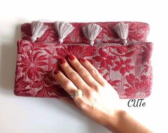 vintage-style evening clutch, bolso de mano, handmade evening purse, Unterarmtasche, gift for her, unique purse, handmade clutch, upholstery