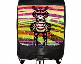 Zebra Brick Wall Graffiti Art Print Large Black School Backpack