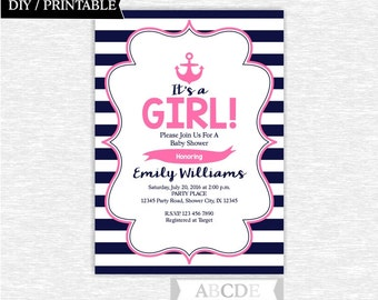 Pink and Navy Nautical Girl Baby Shower invitation Nautical invitation Printable (NKG004)