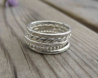 Set of Five Mixed Stacking Rings, Sterling Silver, Modern, Handmade stacking set, beaded ring, twisted ring, hammered ring, jewellery gift